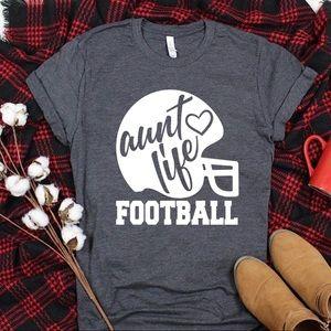 Football Aunt Life T Shirt Crewneck Tee